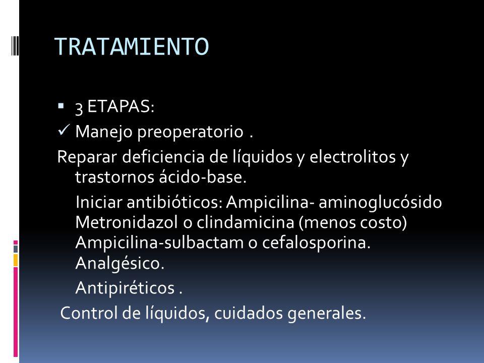 TRATAMIENTO 3 ETAPAS: Manejo preoperatorio .