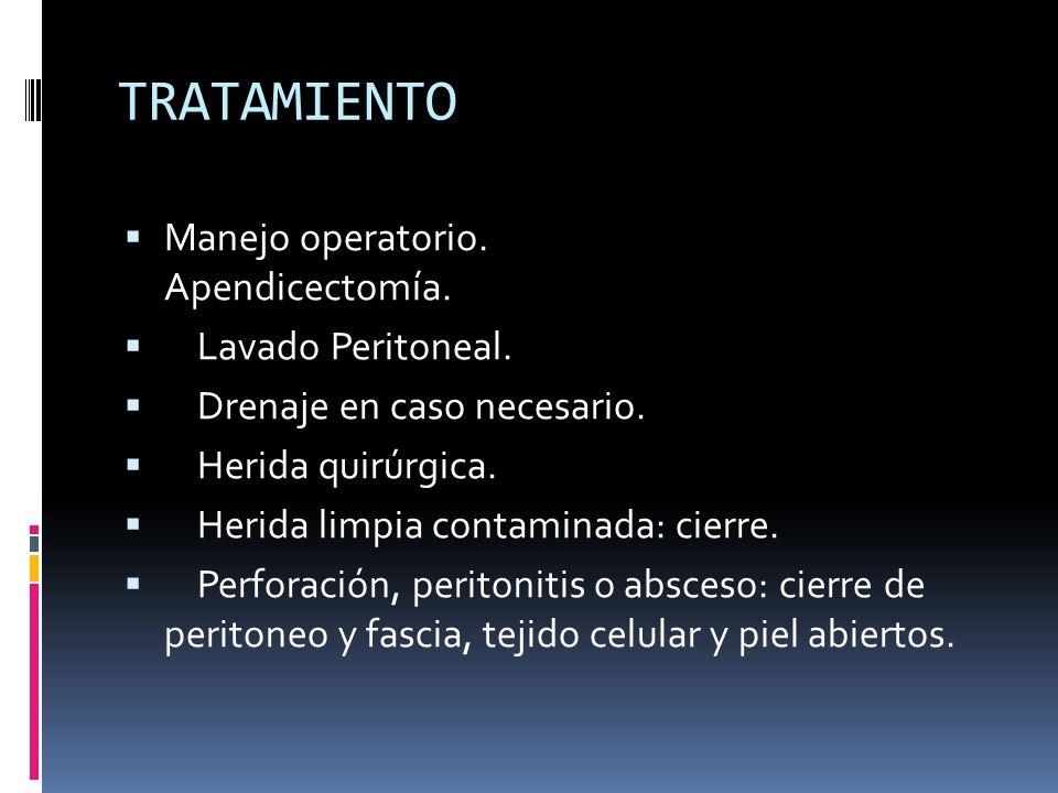 TRATAMIENTO Manejo operatorio. Apendicectomía. Lavado Peritoneal.