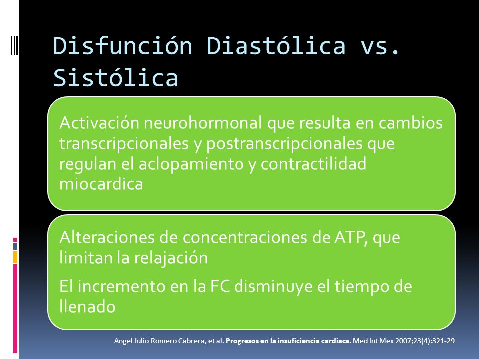 Disfunción Diastólica vs. Sistólica