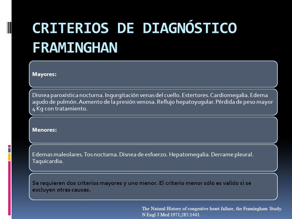 CRITERIOS DE DIAGNÓSTICO FRAMINGHAN