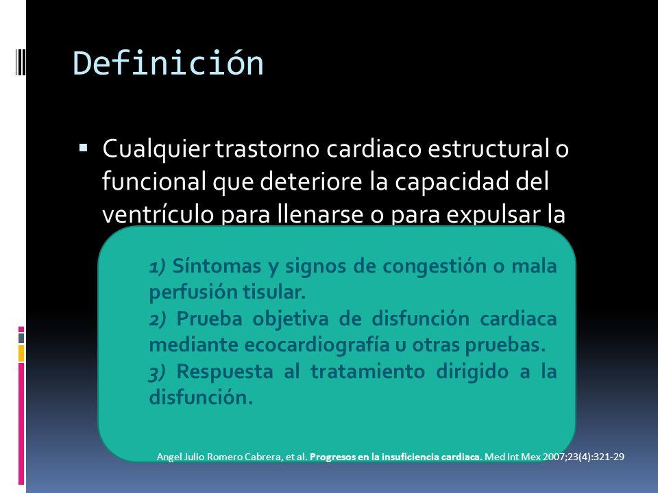 DefiniciónCualquier trastorno cardiaco estructural o funcional que deteriore la capacidad del ventrículo para llenarse o para expulsar la sangre.