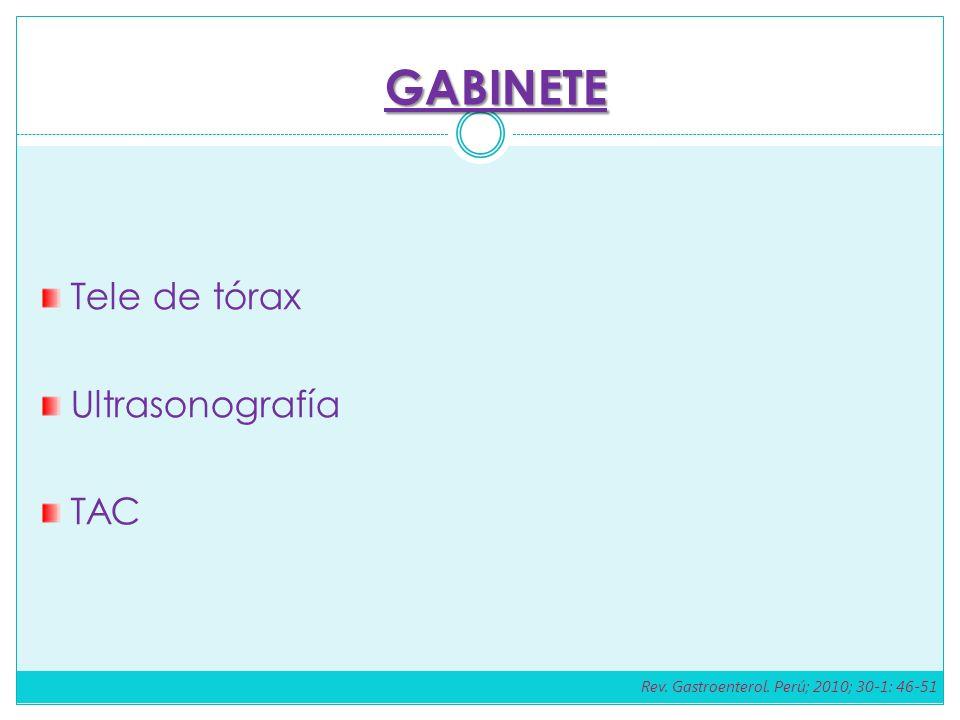 GABINETE Tele de tórax Ultrasonografía TAC