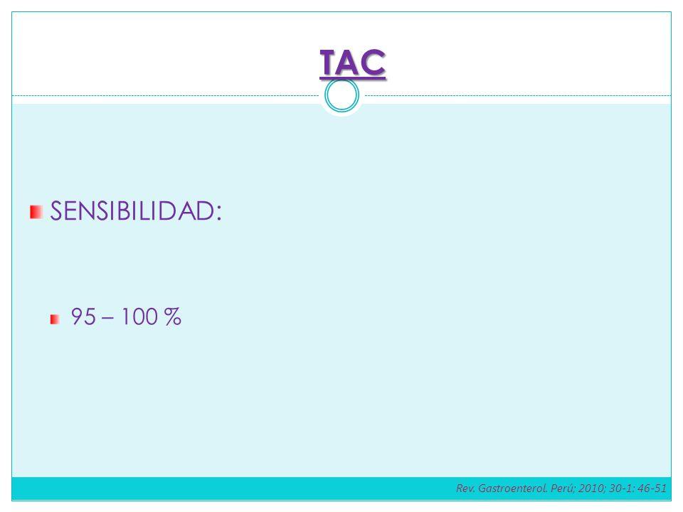 TAC SENSIBILIDAD: 95 – 100 % Rev. Gastroenterol. Perú; 2010; 30-1: 46-51