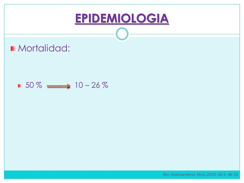 EPIDEMIOLOGIA Mortalidad: 50 % 10 – 26 %