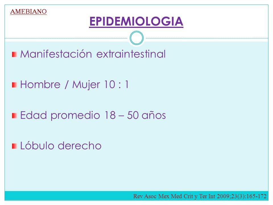 EPIDEMIOLOGIA Manifestación extraintestinal Hombre / Mujer 10 : 1