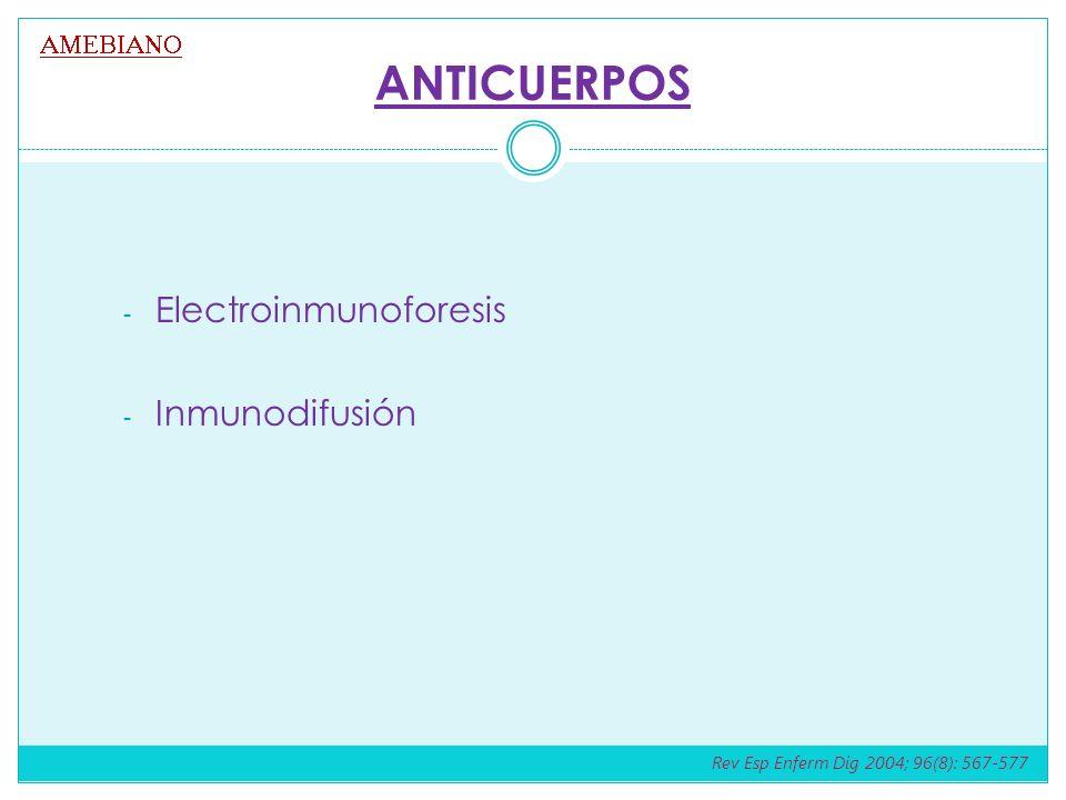 ANTICUERPOS Electroinmunoforesis Inmunodifusión AMEBIANO