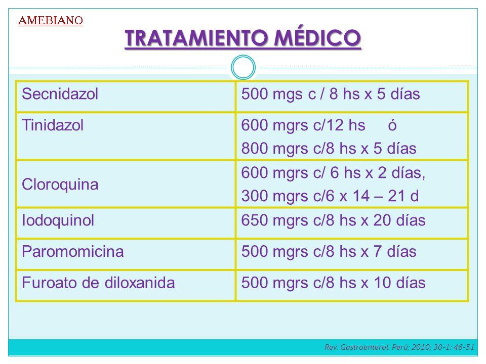 TRATAMIENTO MÉDICO Secnidazol 500 mgs c / 8 hs x 5 días Tinidazol