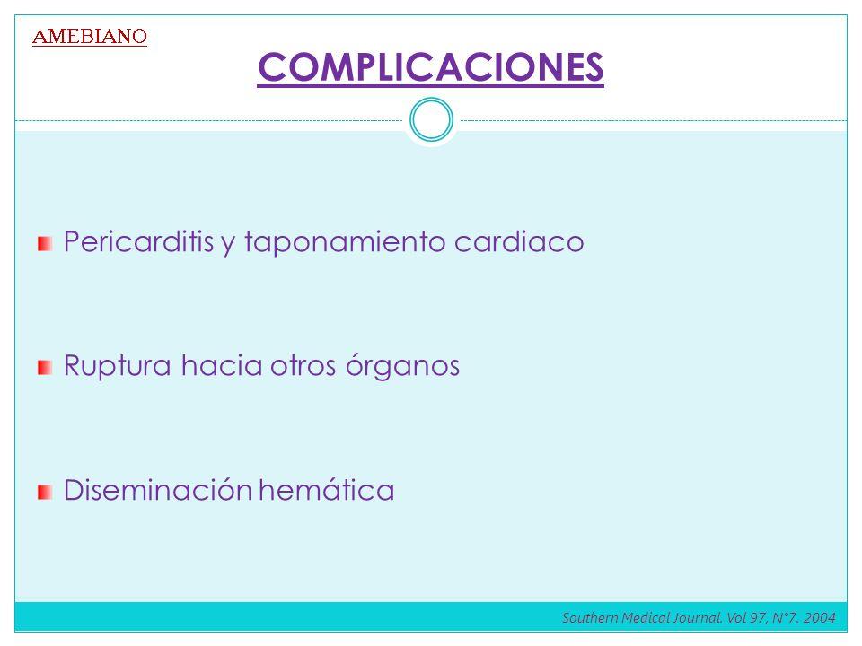 COMPLICACIONES Pericarditis y taponamiento cardiaco