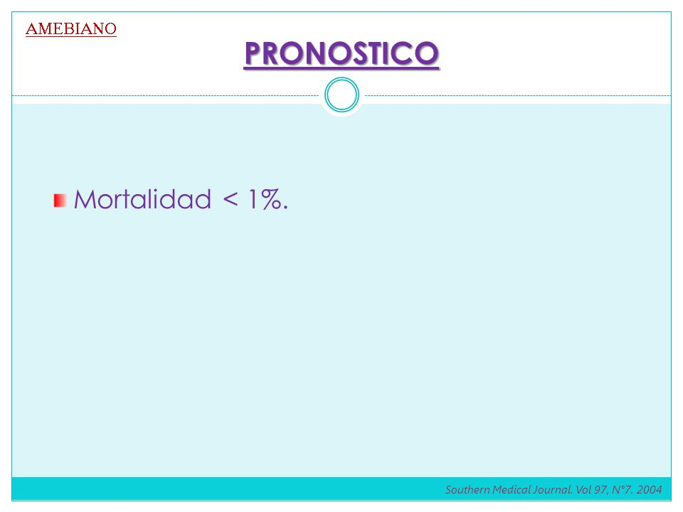 PRONOSTICO Mortalidad < 1%. AMEBIANO