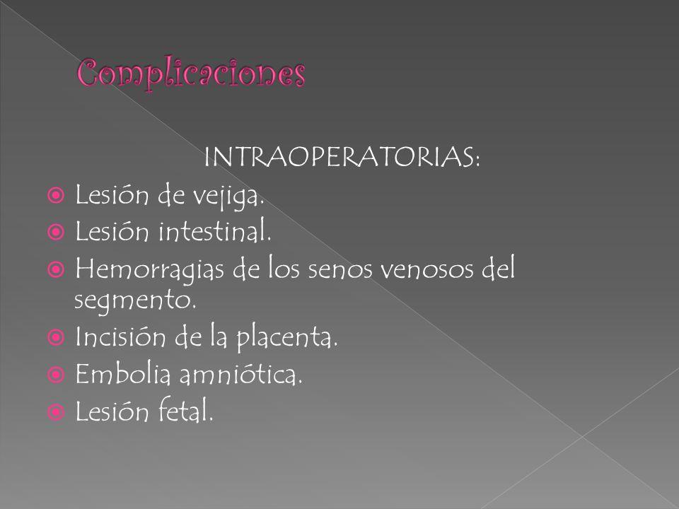 Complicaciones INTRAOPERATORIAS: Lesión de vejiga. Lesión intestinal.