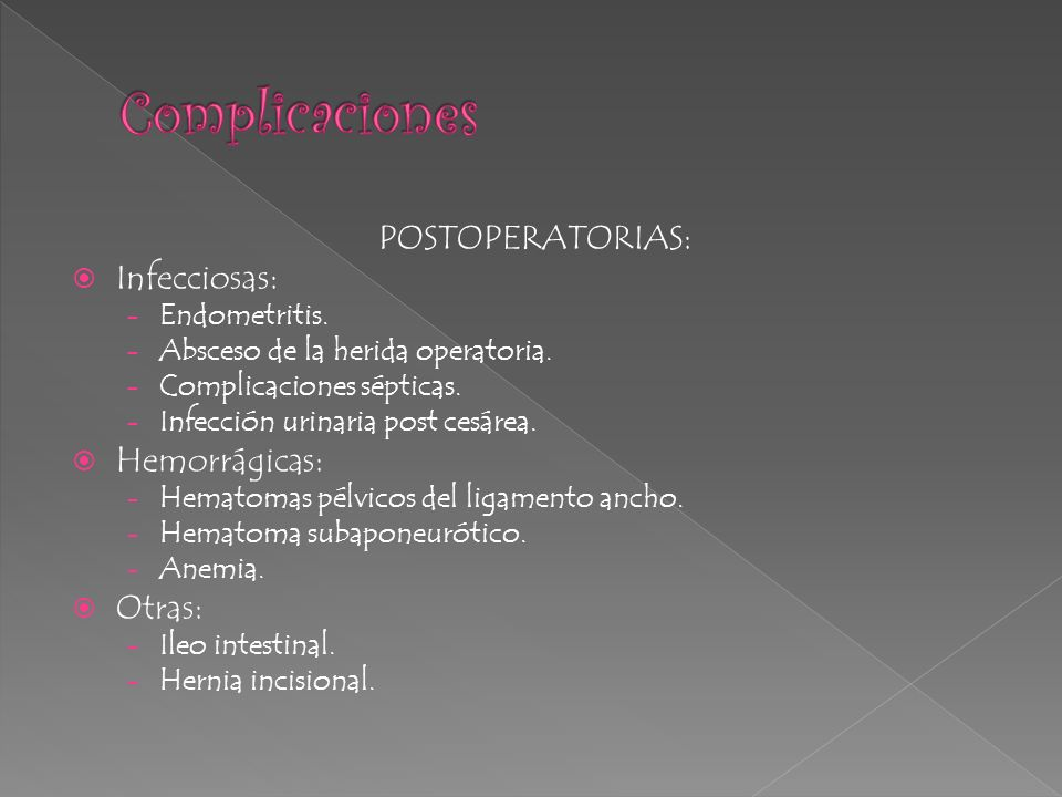 Complicaciones POSTOPERATORIAS: Infecciosas: Hemorrágicas: Otras: