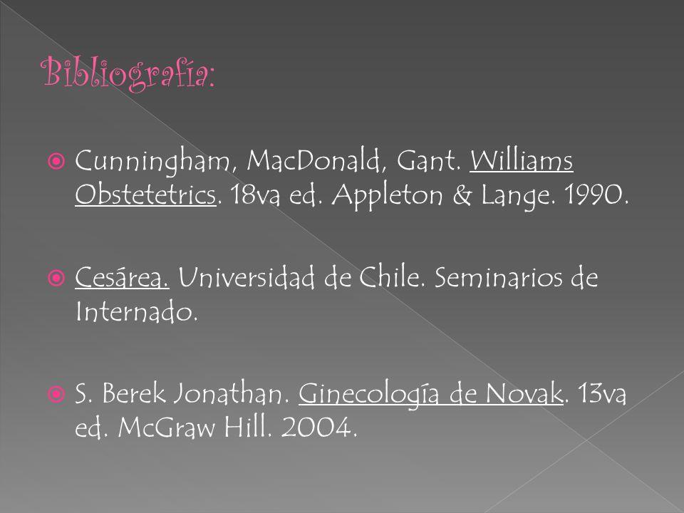 Bibliografía:Cunningham, MacDonald, Gant. Williams Obstetetrics. 18va ed. Appleton & Lange. 1990.
