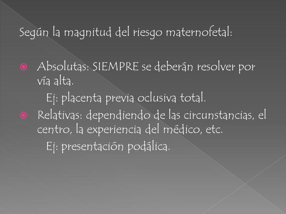 Según la magnitud del riesgo maternofetal: