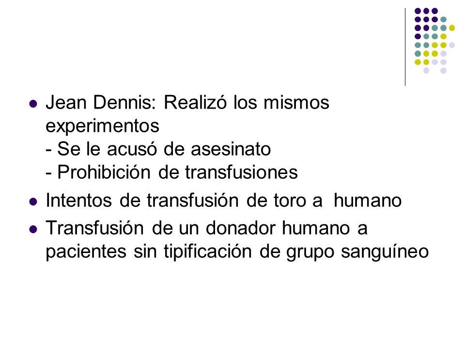 HISTORIA SXVII Jean Dennis: Realizó los mismos experimentos - Se le acusó de asesinato - Prohibición de transfusiones.