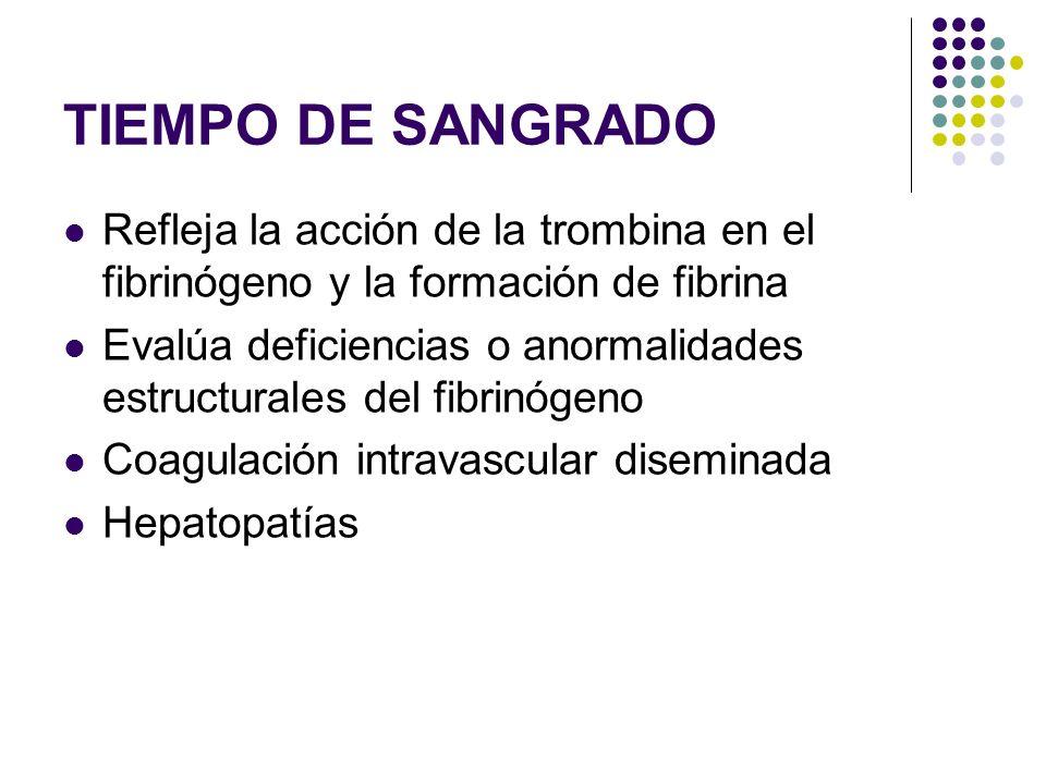 TIEMPO DE SANGRADO Refleja la acción de la trombina en el fibrinógeno y la formación de fibrina.