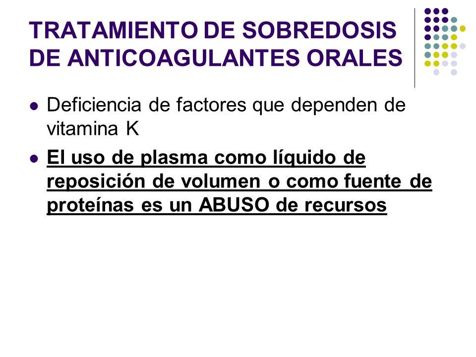 TRATAMIENTO DE SOBREDOSIS DE ANTICOAGULANTES ORALES