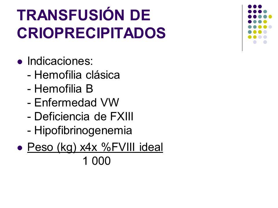 TRANSFUSIÓN DE CRIOPRECIPITADOS