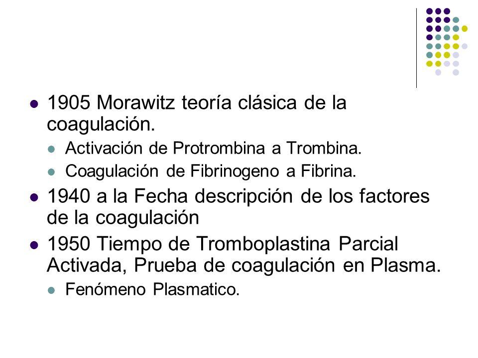 Historia 1905 Morawitz teoría clásica de la coagulación.