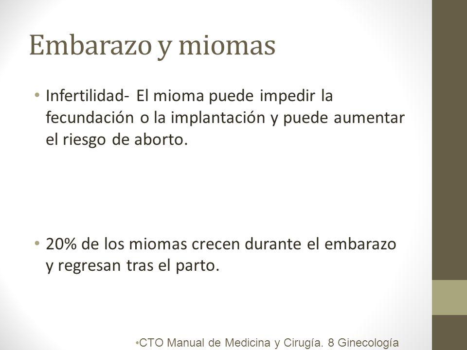 Embarazo y miomas Infertilidad- El mioma puede impedir la fecundación o la implantación y puede aumentar el riesgo de aborto.
