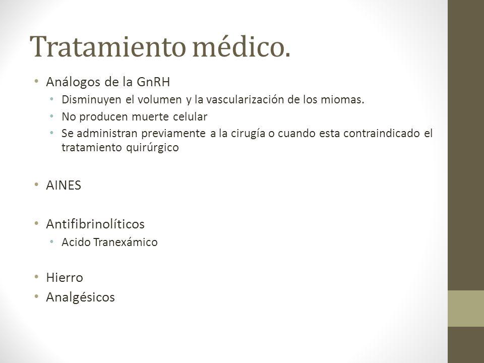 Tratamiento médico. Análogos de la GnRH AINES Antifibrinolíticos