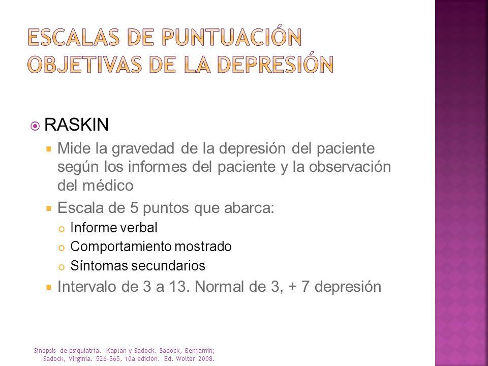 Escalas de puntuación objetivas de la depresión