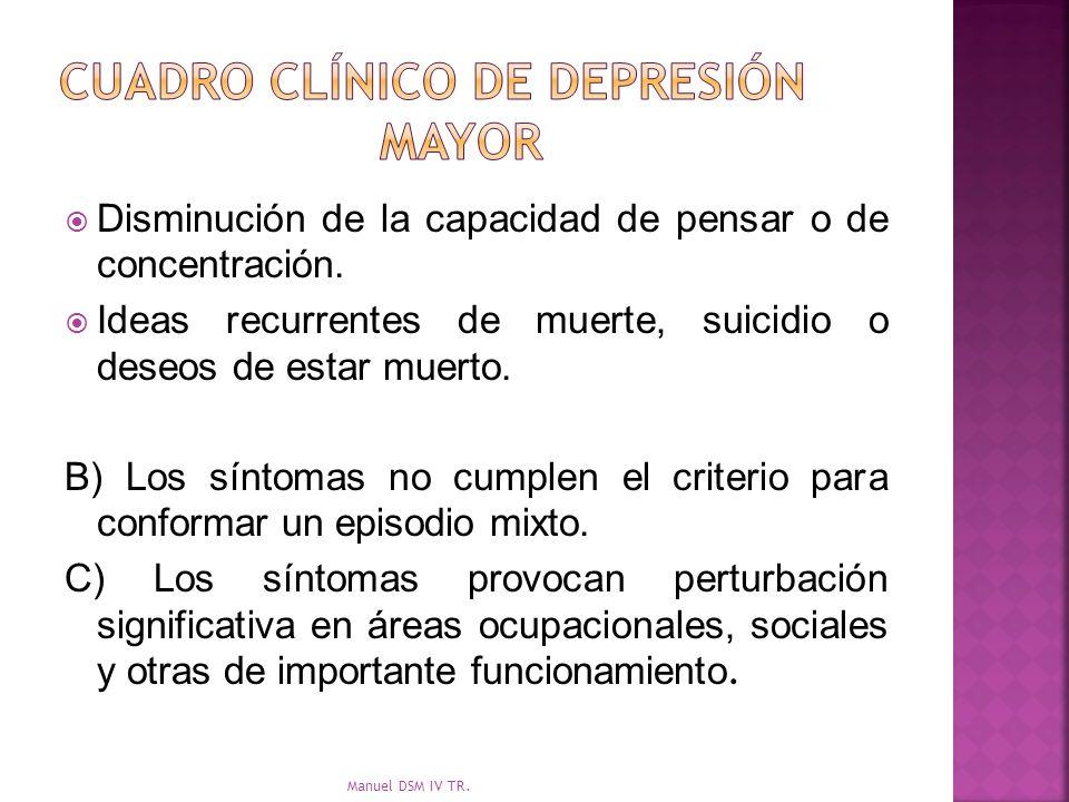 Cuadro clínico de depresión mayor