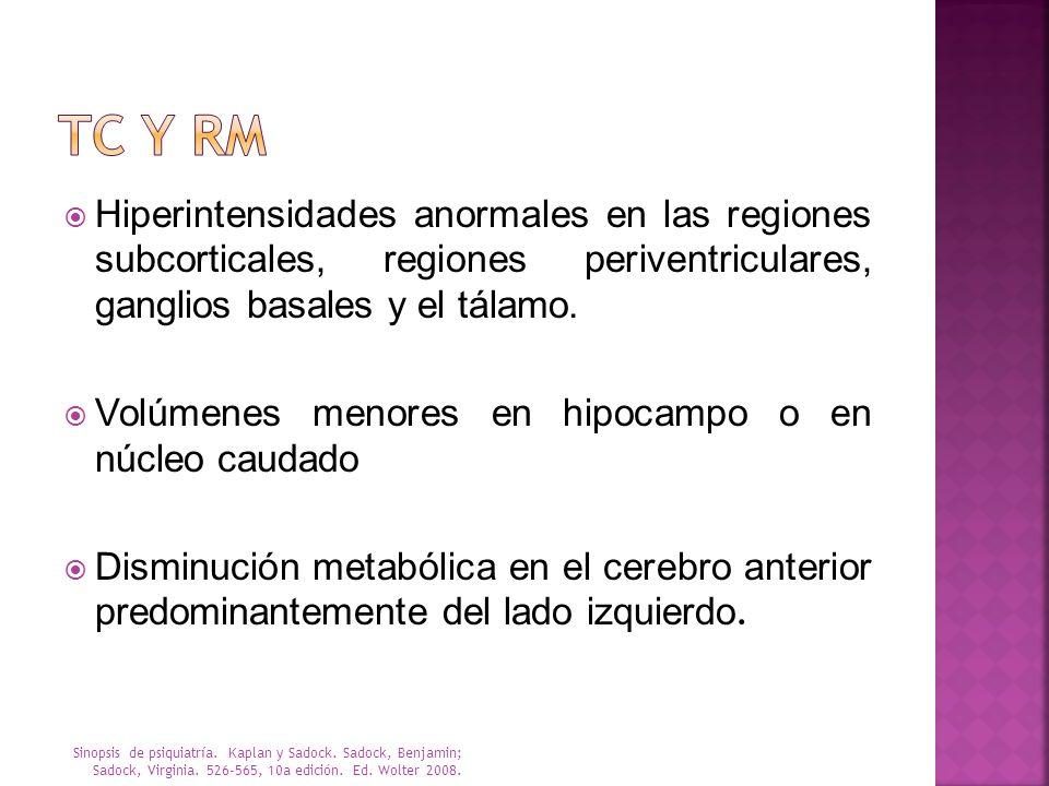 TC Y RM Hiperintensidades anormales en las regiones subcorticales, regiones periventriculares, ganglios basales y el tálamo.