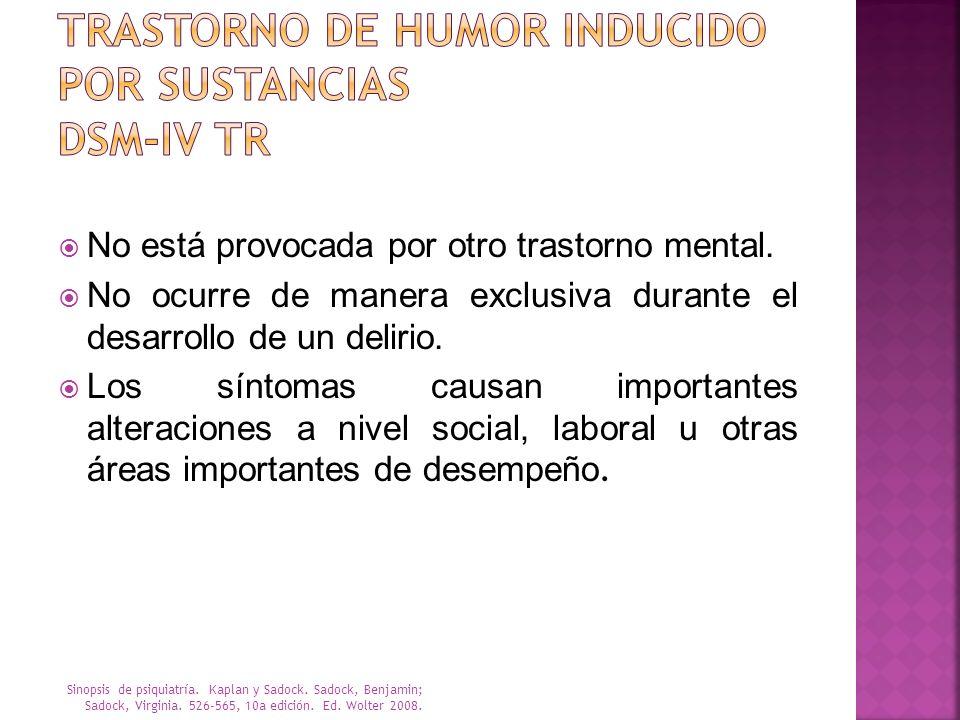 Trastorno de humor inducido por sustancias DSM-IV TR