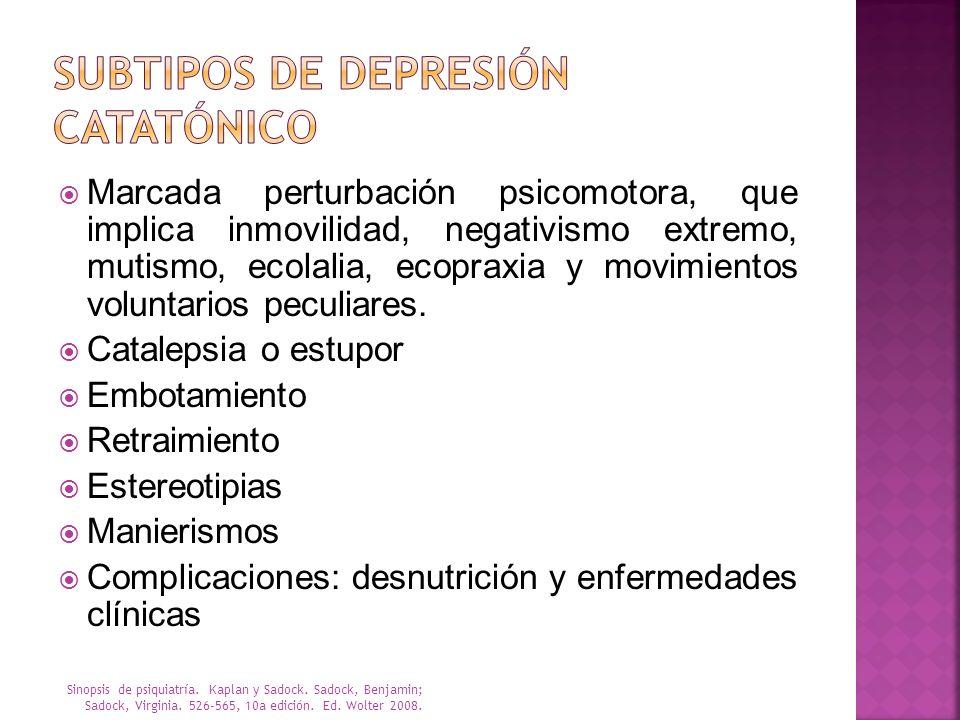 Subtipos de depresión Catatónico