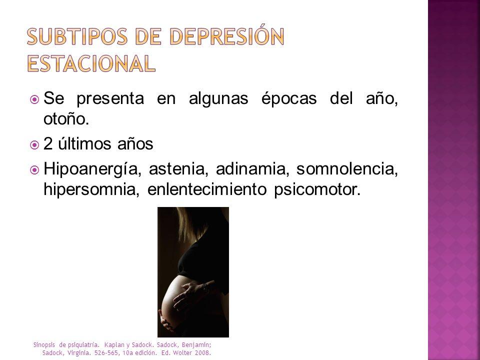 Subtipos de depresión Estacional