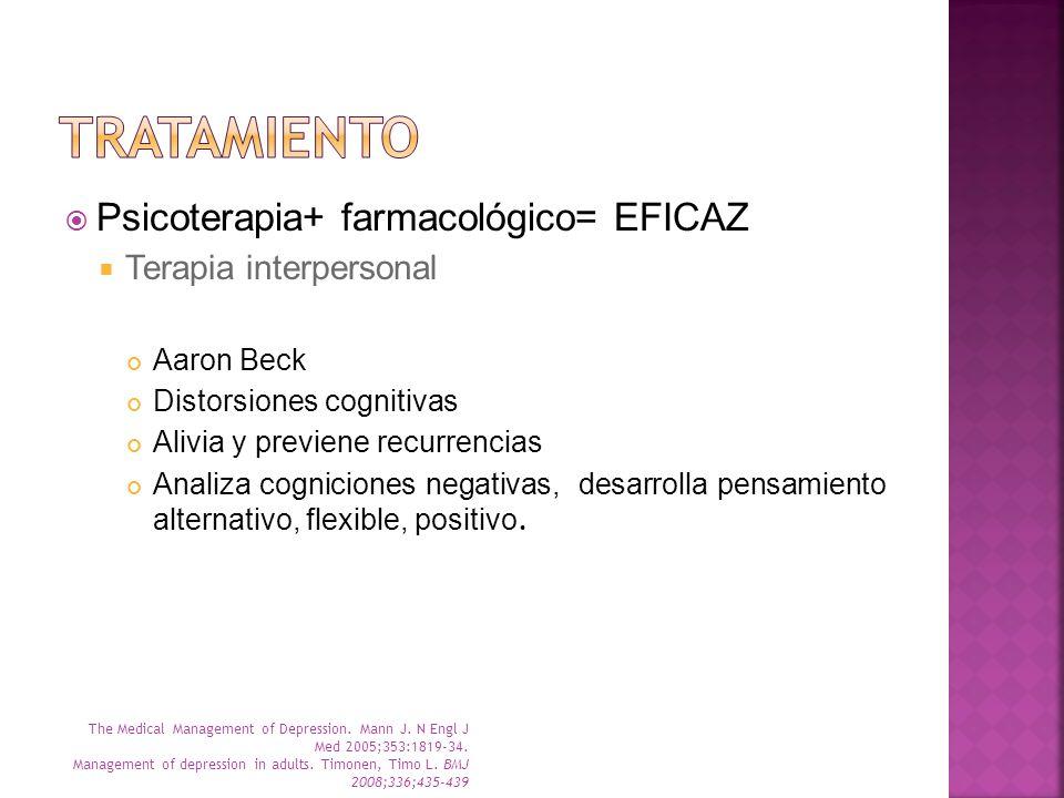 tratamiento Psicoterapia+ farmacológico= EFICAZ Terapia interpersonal