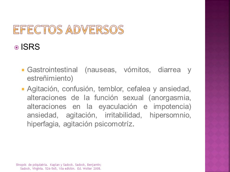 EFECTOS ADVERSOS ISRS. Gastrointestinal (nauseas, vómitos, diarrea y estreñimiento)