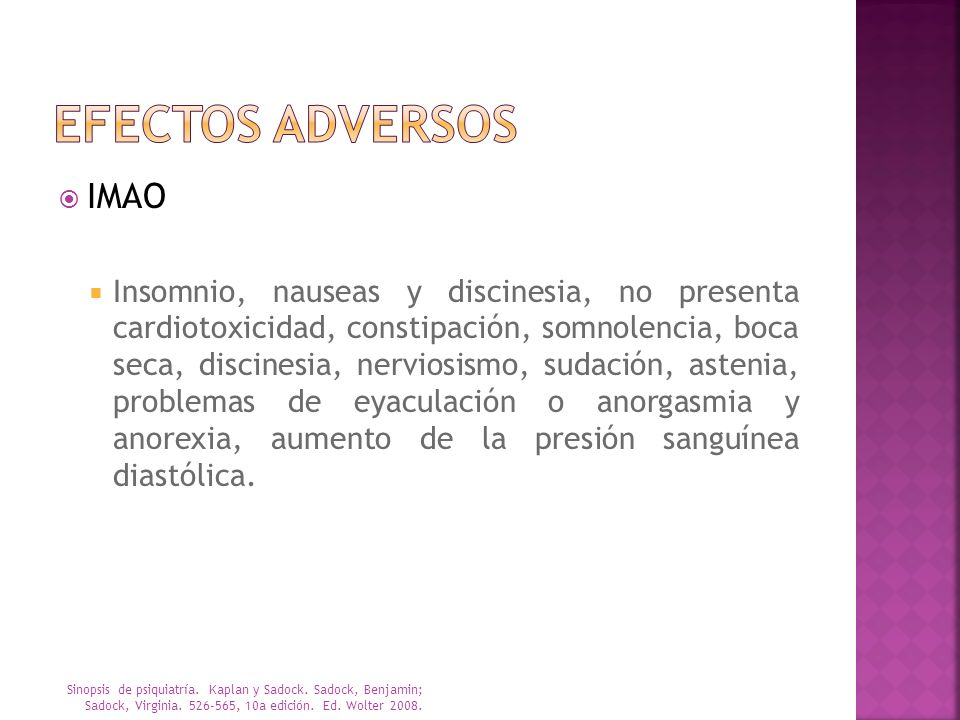 Efectos adversos IMAO.