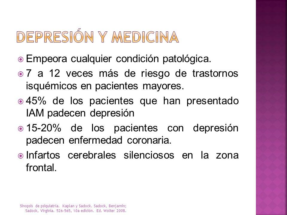 Depresión y Medicina Empeora cualquier condición patológica.