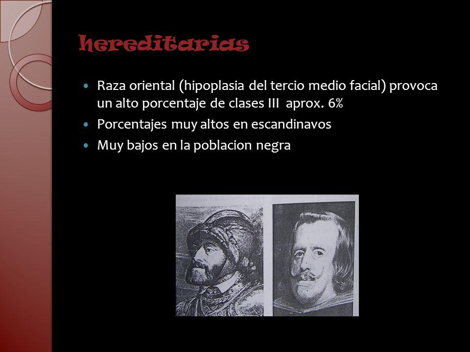 hereditariasRaza oriental (hipoplasia del tercio medio facial) provoca un alto porcentaje de clases III aprox. 6%
