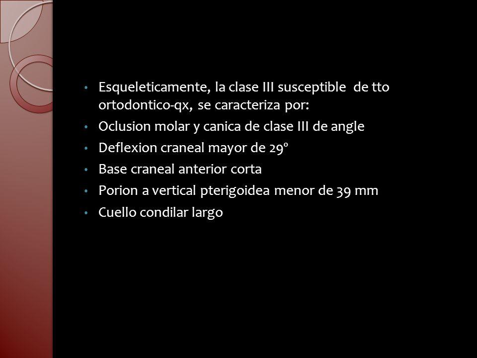 Esqueleticamente, la clase III susceptible de tto ortodontico-qx, se caracteriza por: