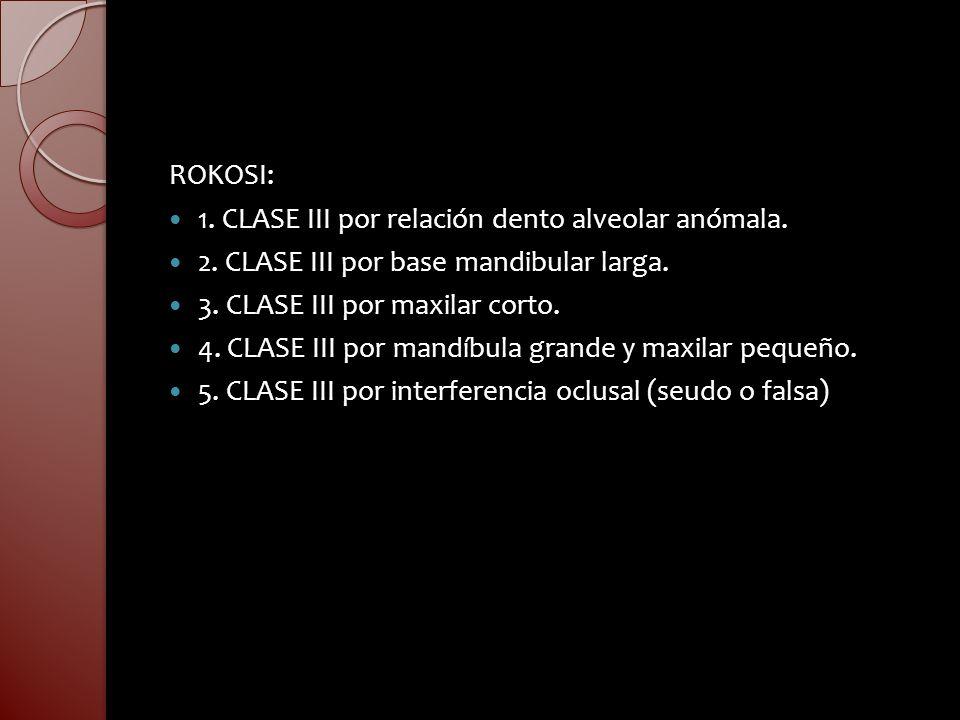 ROKOSI:1. CLASE III por relación dento alveolar anómala. 2. CLASE III por base mandibular larga. 3. CLASE III por maxilar corto.