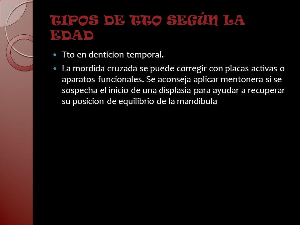 TIPOS DE TTO SEGÚN LA EDAD