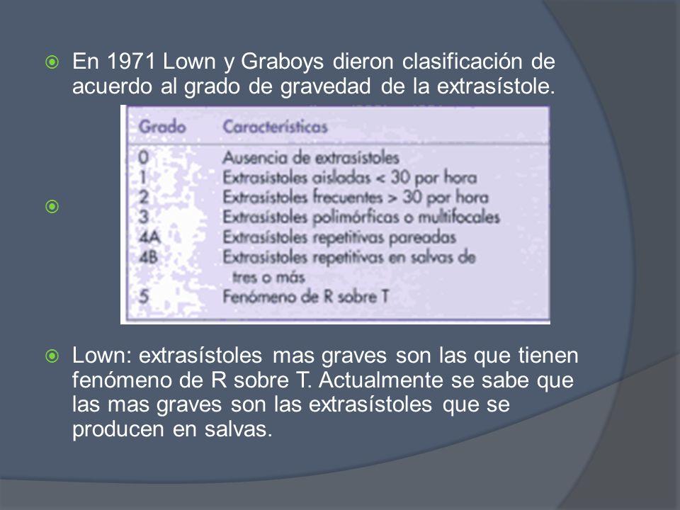 En 1971 Lown y Graboys dieron clasificación de acuerdo al grado de gravedad de la extrasístole.