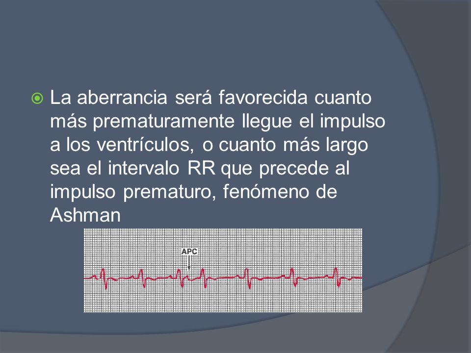 La aberrancia será favorecida cuanto más prematuramente llegue el impulso a los ventrículos, o cuanto más largo sea el intervalo RR que precede al impulso prematuro, fenómeno de Ashman