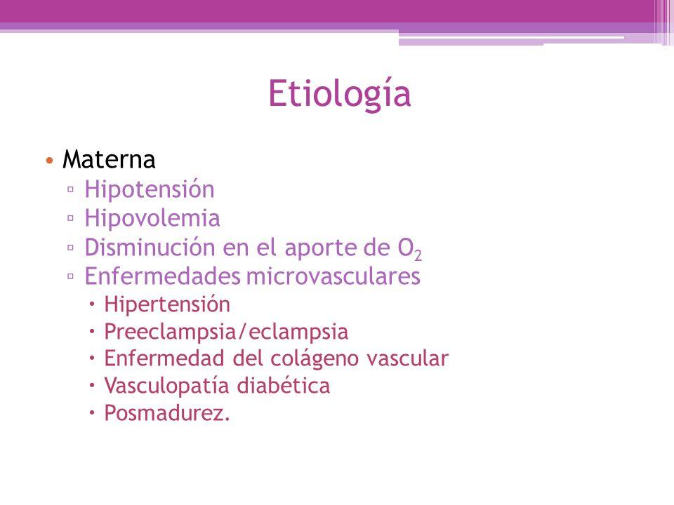 Etiología Materna Hipotensión Hipovolemia