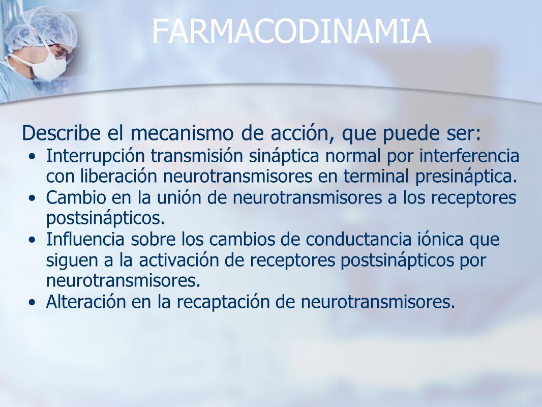 FARMACODINAMIA Describe el mecanismo de acción, que puede ser: