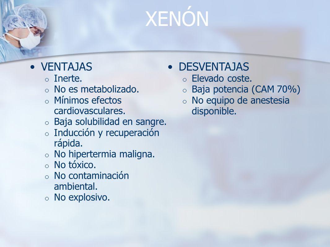 XENÓN VENTAJAS DESVENTAJAS Inerte. No es metabolizado.