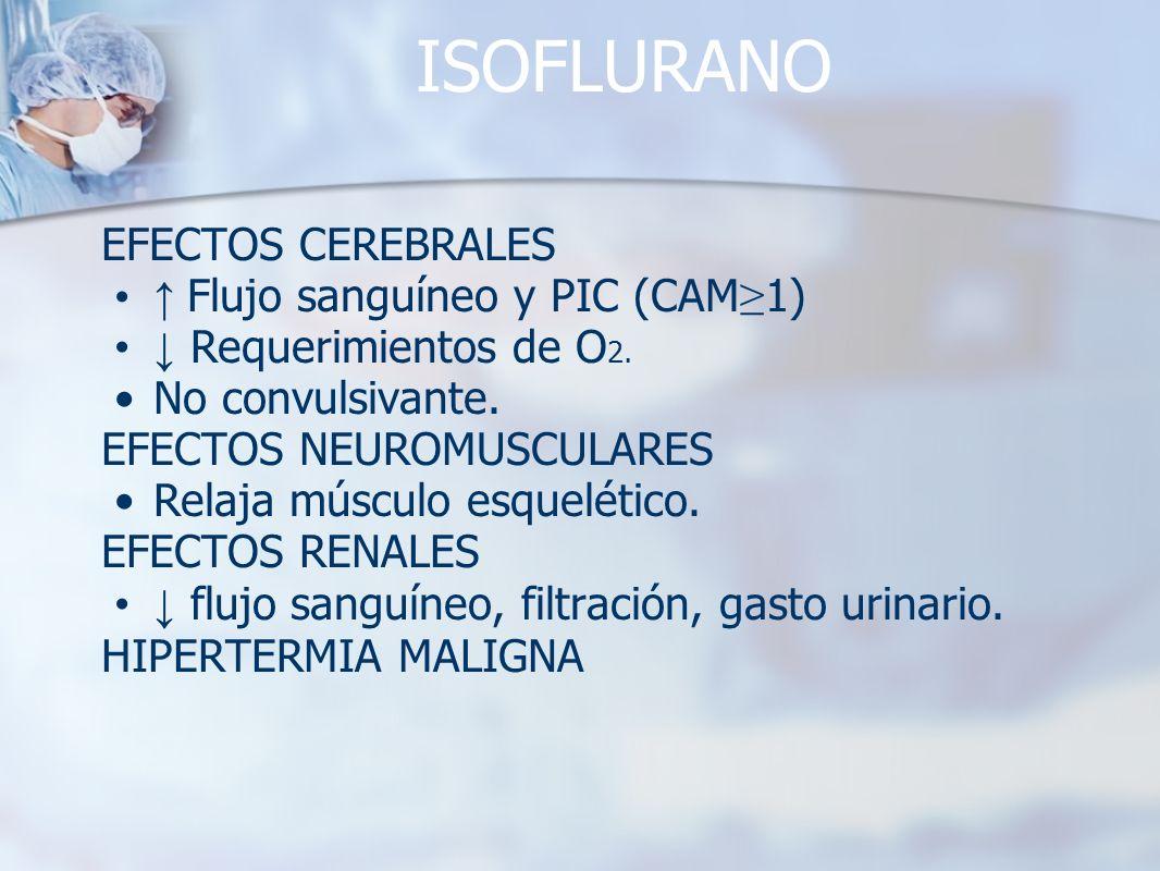 ISOFLURANO EFECTOS CEREBRALES ↑ Flujo sanguíneo y PIC (CAM≥1)