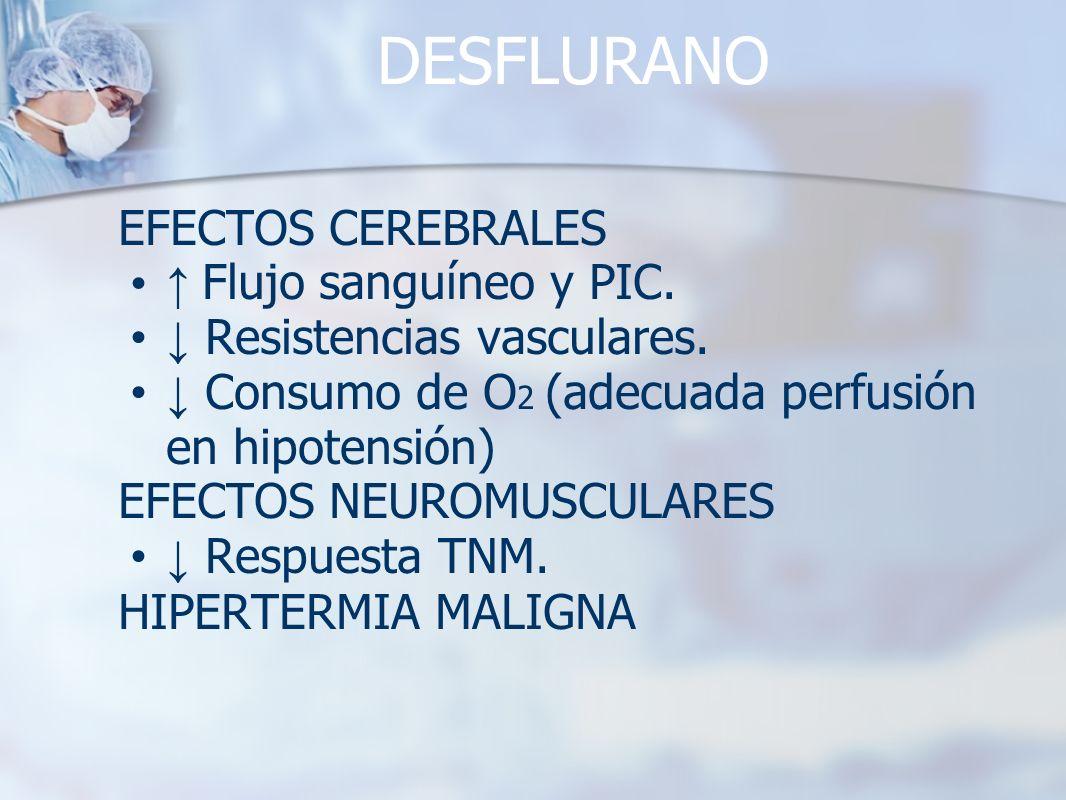 DESFLURANO EFECTOS CEREBRALES ↑ Flujo sanguíneo y PIC.