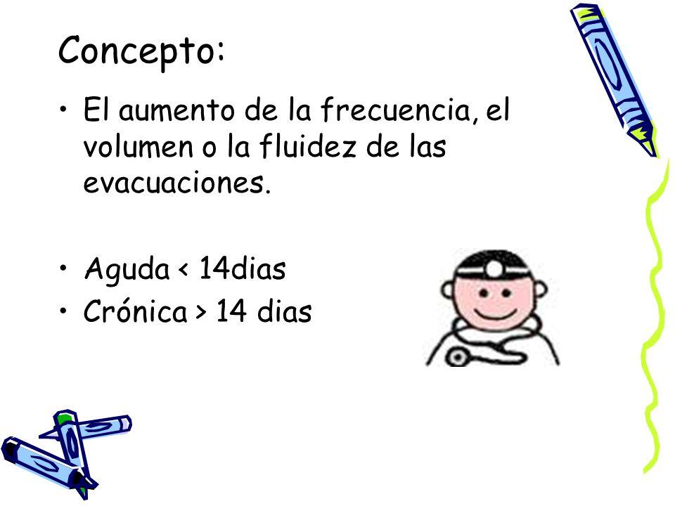 Concepto: El aumento de la frecuencia, el volumen o la fluidez de las evacuaciones. Aguda < 14dias.