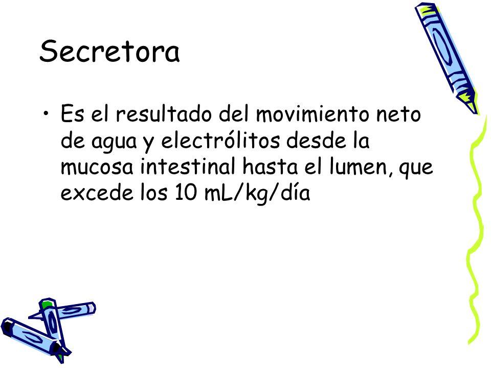 Secretora Es el resultado del movimiento neto de agua y electrólitos desde la mucosa intestinal hasta el lumen, que excede los 10 mL/kg/día.