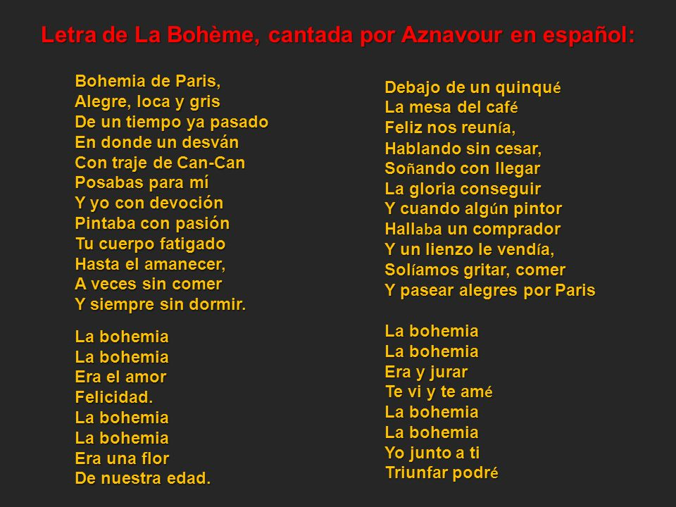 Letra de La Bohème, cantada por Aznavour en español: