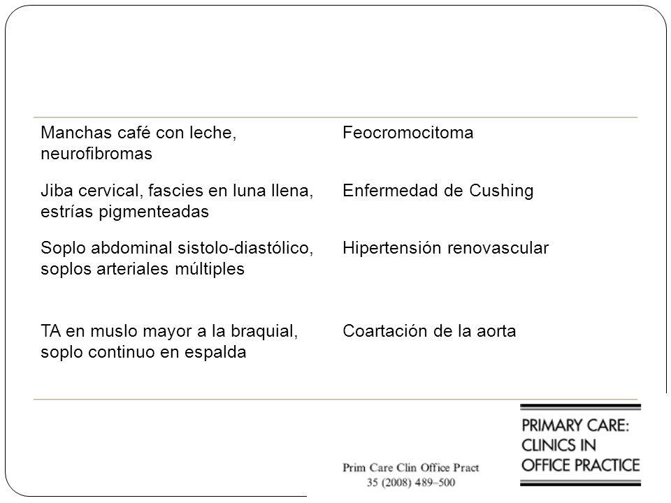 Manchas café con leche, neurofibromas Feocromocitoma