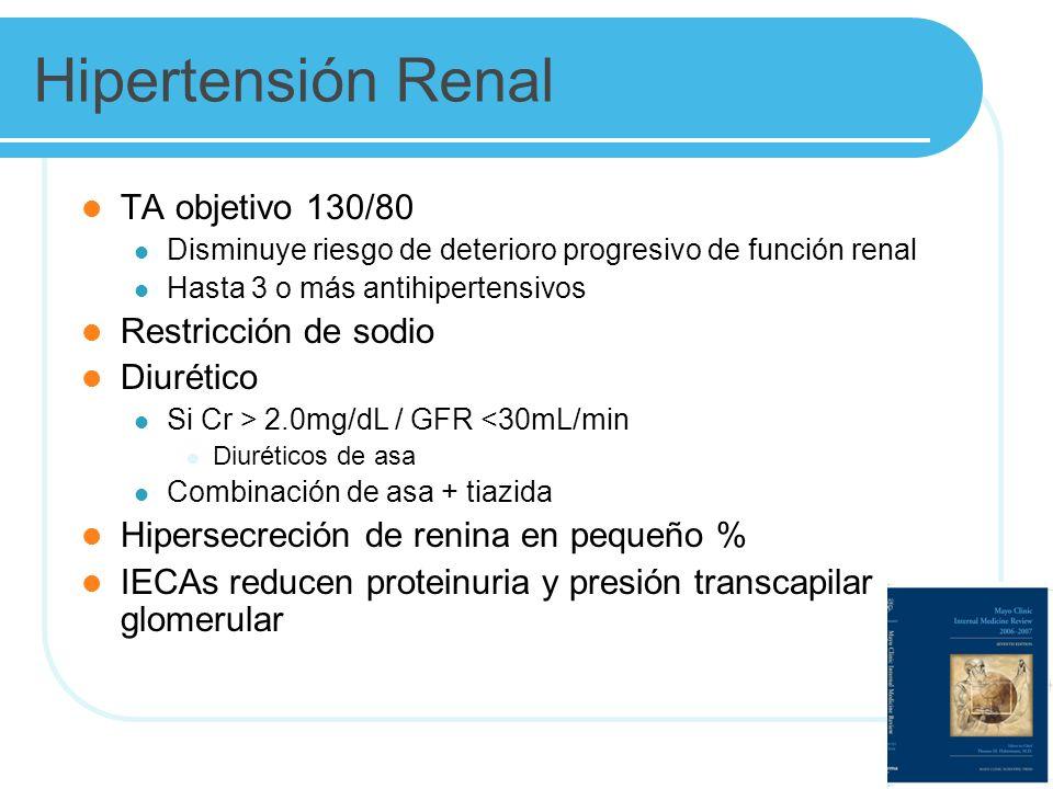 Hipertensión Renal TA objetivo 130/80 Restricción de sodio Diurético